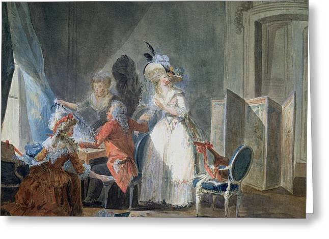 The Fashion Seller  Greeting Card by Philibert Louis Debucourt