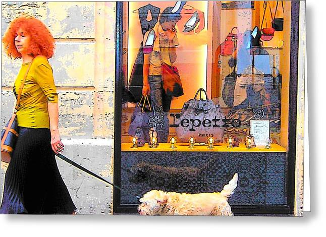 Dog Walking Digital Art Greeting Cards - The Fashionable Parisian Lady Greeting Card by Jan Matson