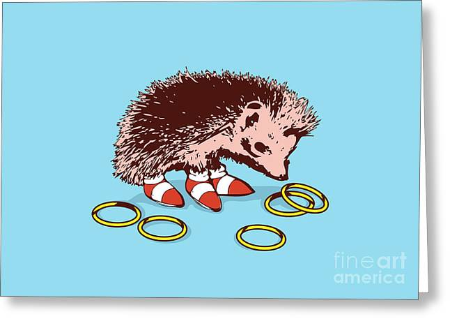 Cute Digital Art Greeting Cards - The Fastest Hedgehog Greeting Card by Budi Kwan