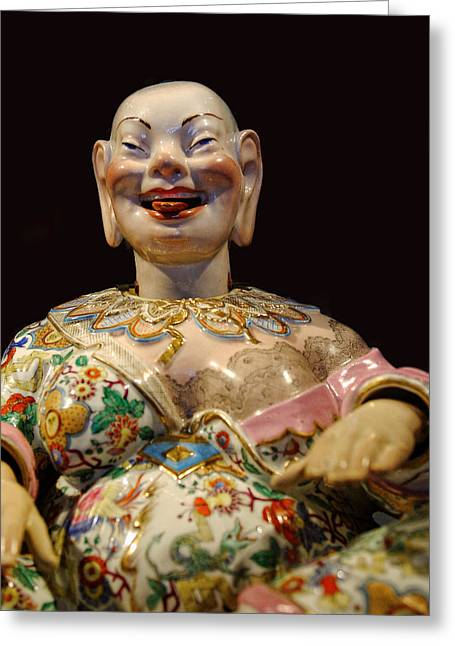 Scuplture Greeting Cards - The Fat Lady Oriental Art Greeting Card by Linda Phelps