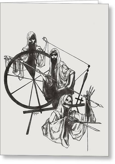Destiny Drawings Greeting Cards - The Fates Greeting Card by Amiri Bennett