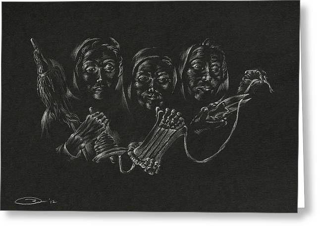 Destiny Drawings Greeting Cards - The Fates Greeting Card by Michele Myers