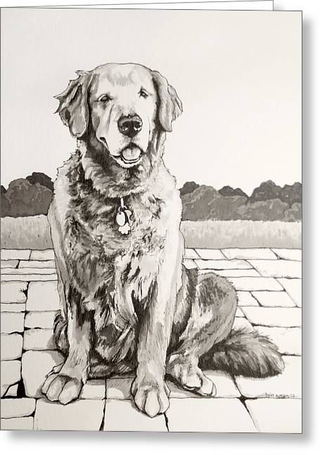 Sepia Ink Drawings Greeting Cards - The Favorite Daughter Greeting Card by Tyler Auman