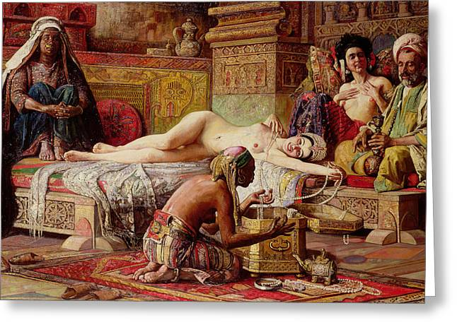 Harem Paintings Greeting Cards - The Favorite of the Harem Greeting Card by Gyula Tornai