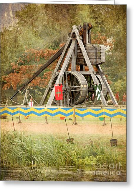 Old Pitcher Greeting Cards - The Fearsome Trebuchet  Greeting Card by Linsey Williams