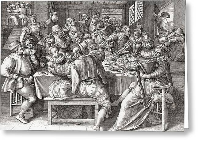 17th Greeting Cards - The Feast, After A 17th Century Engraving By N. De Bruyn.  From Illustrierte Sittengeschichte Vom Greeting Card by Bridgeman Images