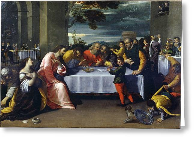 Ointment Greeting Cards - The Feast At The House Of Simon Greeting Card by Ippolito Scarcella