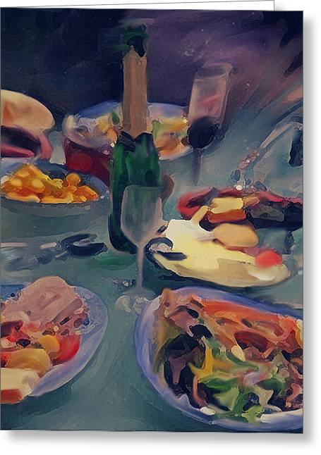 Table Wine Mixed Media Greeting Cards - The Feast Greeting Card by Dennis Buckman