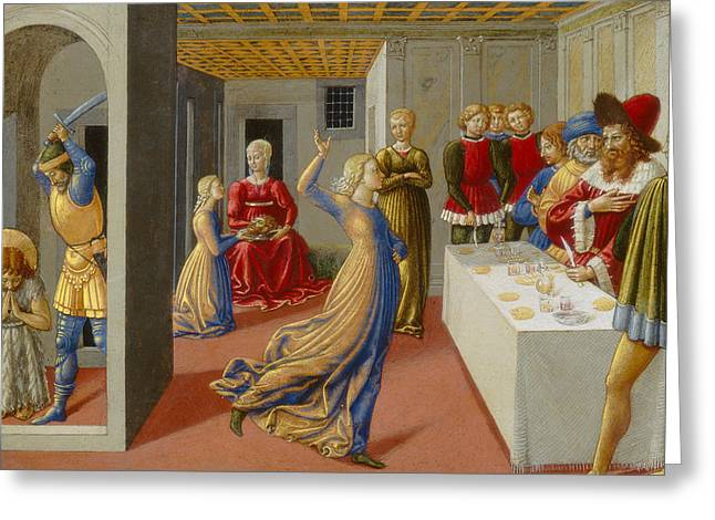 Salome Greeting Cards - The Feast of Herod and the Beheading of Saint John the Baptist Greeting Card by Benozzo di Lese di Sandro Gozzoli