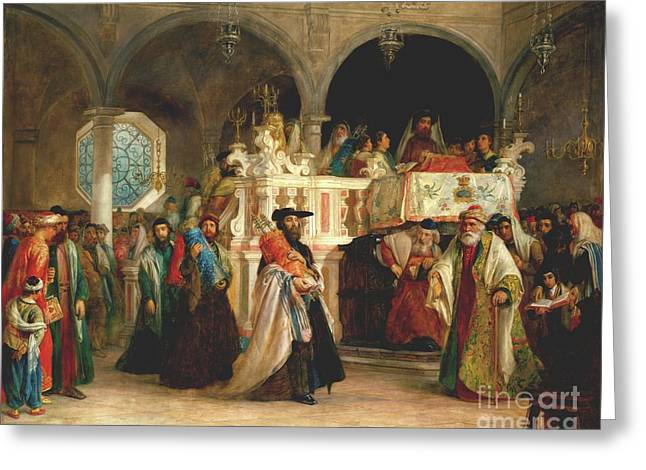 Harts Paintings Greeting Cards - The Feast of the Rejoicing of the Law at the Synagogue in Leghorn Greeting Card by Solomon Alexander Hart