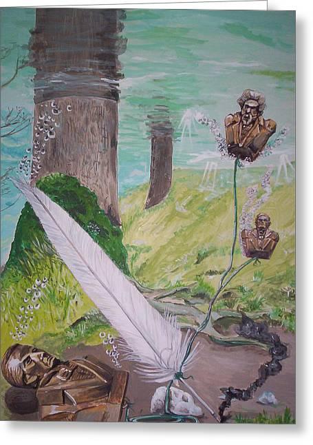The Feather And The Word La Pluma Y La Palabra Greeting Card by Lazaro Hurtado