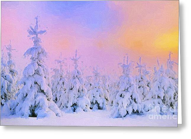 Harmonious Paintings Greeting Cards - The February Sun Greeting Card by Veikko Suikkanen