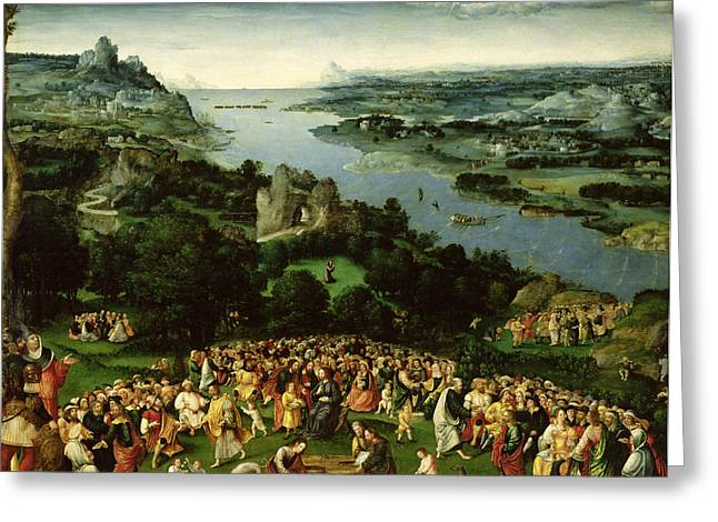 Greyhound Photographs Greeting Cards - The Feeding Of The Five Thousand Oil On Panel Greeting Card by Joachim Patenier or Patinir