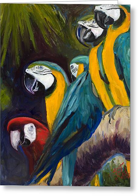 Blue Macaws Greeting Cards - The Feisty One Greeting Card by Billie Colson