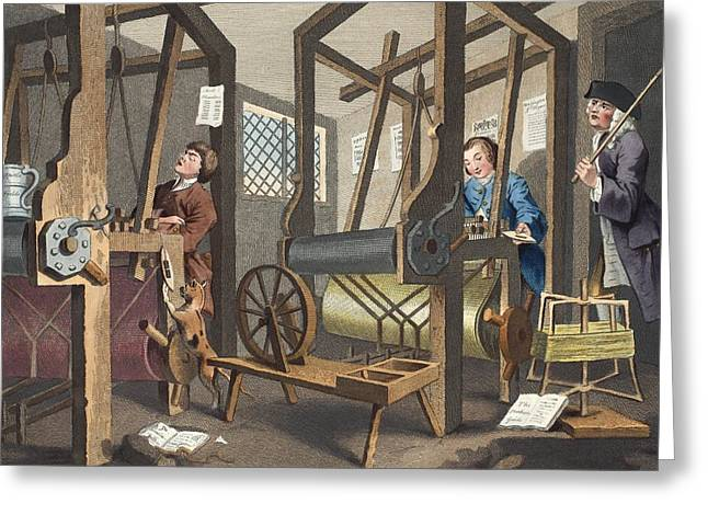 Moral Drawings Greeting Cards - The Fellow Prentices At Their Looms Greeting Card by William Hogarth