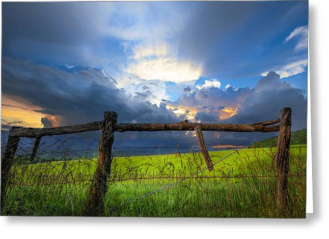 Fencing Greeting Cards - The Fence at Cades Cove Greeting Card by Debra and Dave Vanderlaan