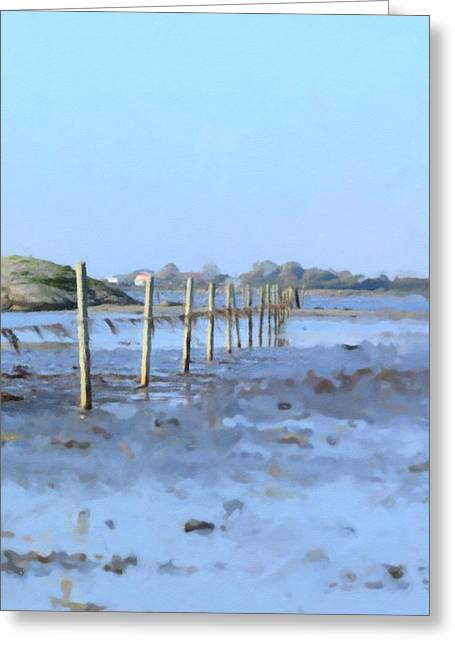 Ranch Mixed Media Greeting Cards - The fence at sea Greeting Card by Toppart Sweden