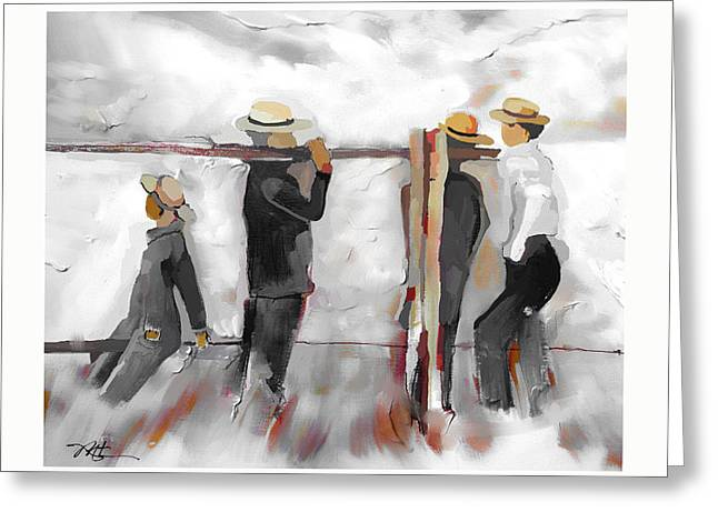 Amish Greeting Cards - The Fence Builders Greeting Card by Bob Salo