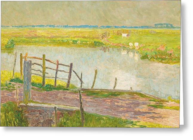 Fence Greeting Cards - The Fence May, The Lys, 1902 Oil On Canvas Greeting Card by Emile Claus