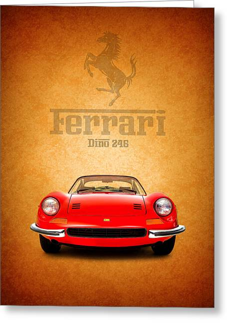 Red Ferrari Greeting Cards - The Ferrari Dino 246 Greeting Card by Mark Rogan