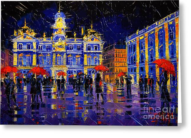 The Festival Of Lights In Lyon France Greeting Card by Mona Edulesco