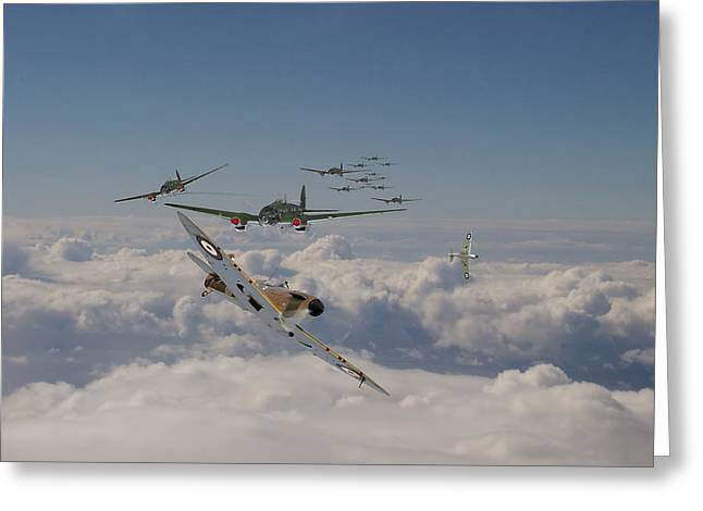 Clouds Scape Greeting Cards - The Few in action Greeting Card by Pat Speirs