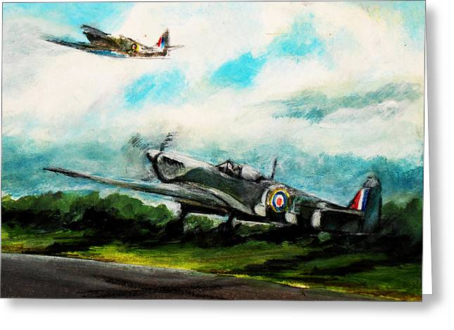 Spitfire Mixed Media Greeting Cards - The Few Greeting Card by Sean Roderick