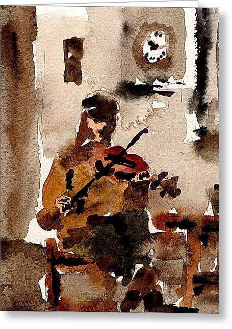 Val Byrne Greeting Cards - The Fiddler Greeting Card by Val Byrne