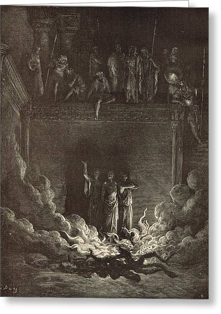 Adonai Greeting Cards - The Fiery Furnace Greeting Card by Antique Engravings
