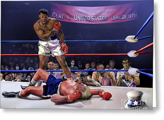 Greatest Of All Time Greeting Cards - The Fight of The Century - June 28 1971 C-vs-US Greeting Card by Reggie Duffie
