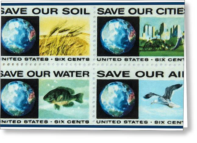 Save Our Water Greeting Cards - The Fight Pollution stamps Greeting Card by Lanjee Chee
