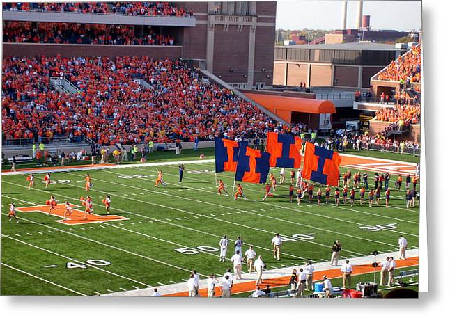 Cheerleader   Greeting Cards - The Fighting Illini  Greeting Card by Mountain Dreams