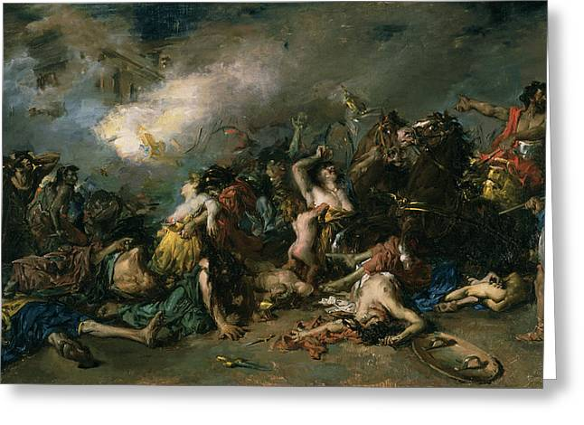 Abduction Greeting Cards - The Final Day Of Sagunto In 219bc, 1869 Oil On Canvas Greeting Card by Francisco Domingo Marques