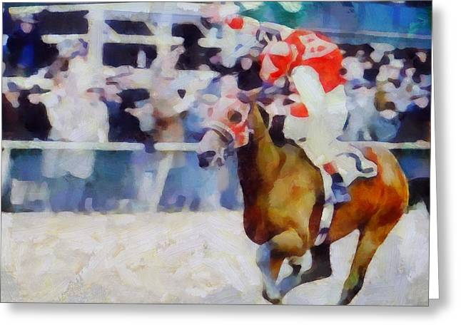 Kentucky Horse Park Mixed Media Greeting Cards - The Final Lap Greeting Card by Dan Sproul