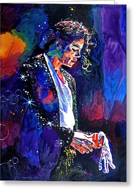 Rock Paintings Greeting Cards - The Final Performance - Michael Jackson Greeting Card by David Lloyd Glover