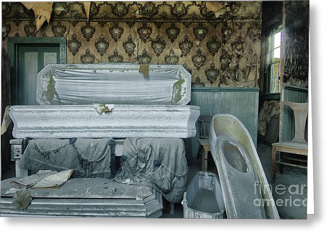 Casket Greeting Cards - The Final Stop Greeting Card by Sandra Bronstein
