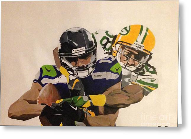 Greenbay Greeting Cards - The Final Touchdown Greeting Card by Courtney Cooper