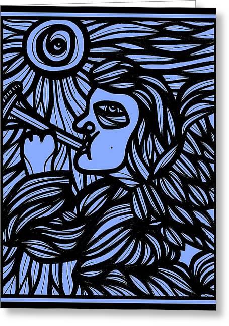 Angel Blues Greeting Cards - Elhosni Angel Cherub Blue Black Greeting Card by Eddie Alfaro