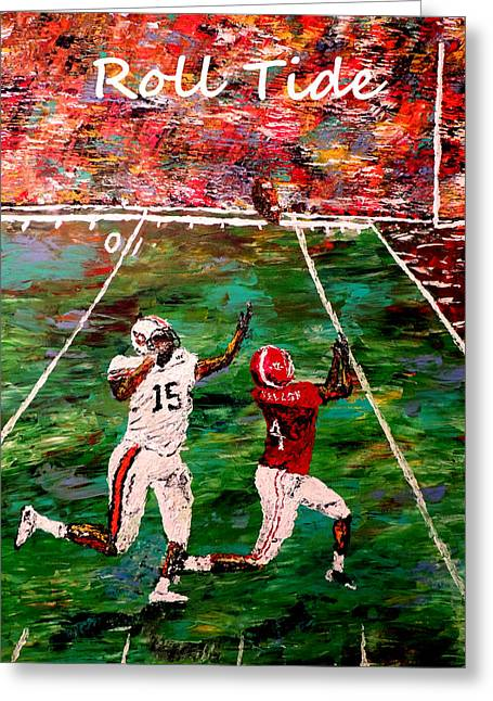 Mark Moore Paintings Greeting Cards - The Final Yard Roll Tide  Greeting Card by Mark Moore