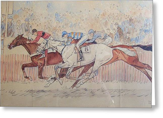 Recently Sold -  - Race Horse Greeting Cards - The Finish-Maryland Hunt Cup 1934 Greeting Card by Paul Brown