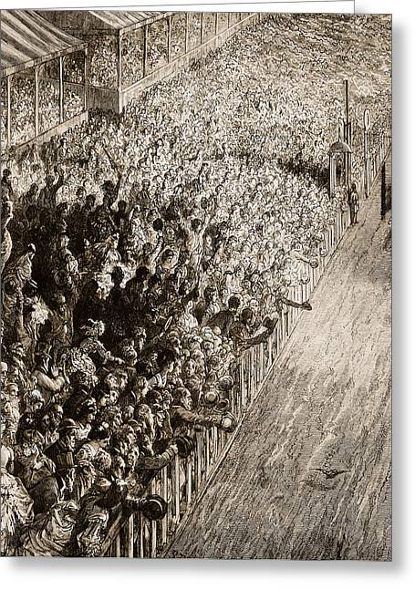 Finishing Greeting Cards - The Finishing Line of the Derby Greeting Card by Gustave Dore