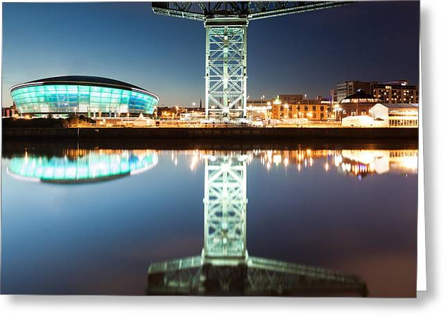 Hydro Greeting Cards - The Finnieston Crane and Hydro Green Greeting Card by John Farnan