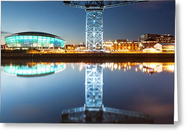 River Clyde Greeting Cards - The Finnieston Crane and Hydro Light Blue Greeting Card by John Farnan