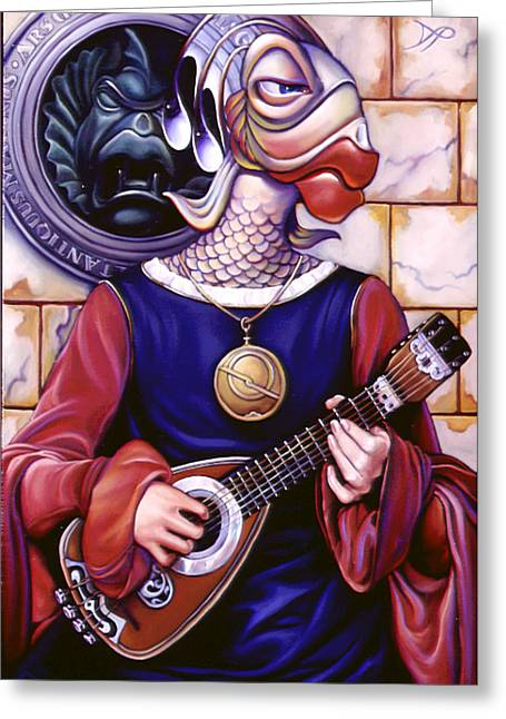 Lute Paintings Greeting Cards - The Finstrel Greeting Card by Patrick Anthony Pierson