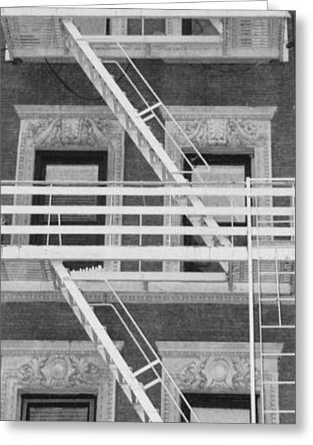 The Fire Escape In Black And White Greeting Card by Rob Hans