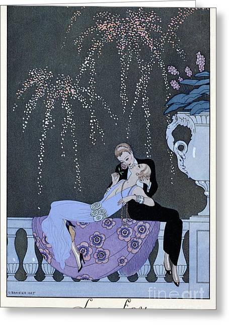 Stylish Paintings Greeting Cards - The Fire Greeting Card by Georges Barbier