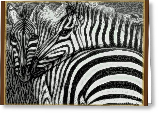 Zebra In Acrylic Greeting Cards - The Fire Ignited From Within in Black and White with Enhancement and Border Greeting Card by Kimberlee  Baxter