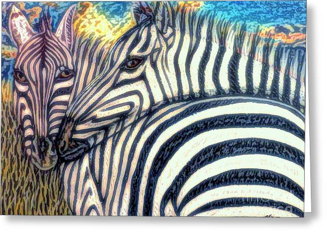 Zebra In Acrylic Greeting Cards - The Fire Ignited From Within Greeting Card by Kimberlee  Baxter