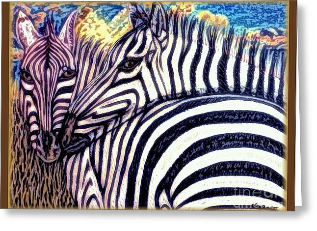 Zebra In Acrylic Greeting Cards - The Fire Ignited From Within with Enhancement and Border  Greeting Card by Kimberlee  Baxter