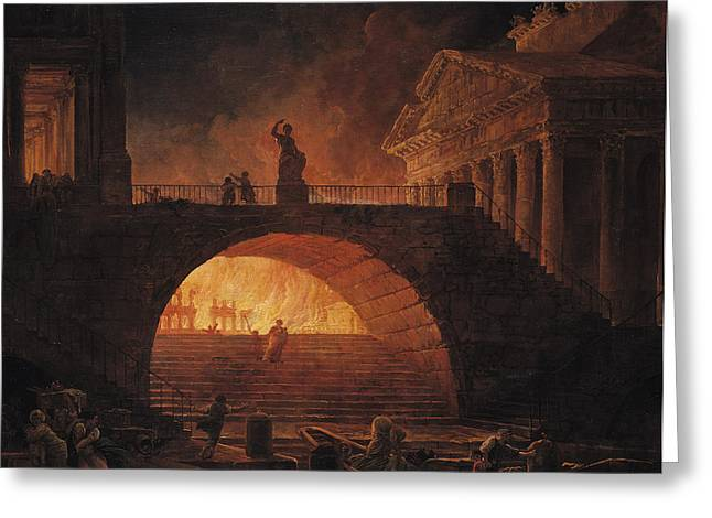 Nero Greeting Cards - The Fire of Rome Greeting Card by Hubert Robert